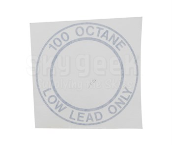"""AeroGraphics AG-FUEL-001 White/Blue """"100LL OCTANE LOW LEAD ONLY"""" Round 4"""" Placard"""
