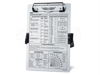 Aviation Supplies & Academics ASA-KB-1 Brushed Aluminum VFR Kneeboard with Leg Strap