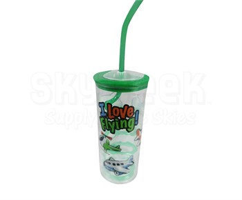 "Born Aviation TW-KT ""I Love Flying!"" Plastic Glass with Twisty Straw"