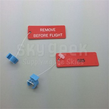 """Paco Plastics S4933959-525 FAA-PMA Blue Circuit Breaker Lockout Ring with """"REMOVE BEFORE FLIGHT"""" Tag"""