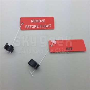 """Paco Plastics S4933959-527 FAA-PMA Black Circuit Breaker Lockout Ring with """"REMOVE BEFORE FLIGHT"""" Tag"""