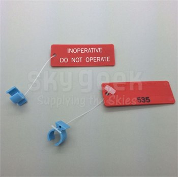 "Paco Plastics S4933959-535 FAA-PMA Blue Circuit Breaker Lockout Ring with ""INOPERATIVE"" Tag"