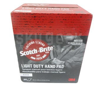 "3M 048011-16555 Scotch-Brite™ 6448 Gray Ultra Fine 6"" x 9"" Light Duty Hand Pad - 20 Pads/Box"