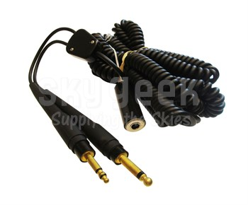 """David Clark 18253G-11 Black 26' Copil Cord """"Y""""-Type Adapter Cable Converts Fixed Wing M642/5-1(PJ068) & M642/4-1(PJ055) to (SC-838) Connector"""