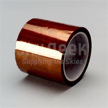 "3M™ 021200-16173 Amber 5413 Polyimide 2.7 Mil Film Tape - 3/4"" x 36 Yard Roll"