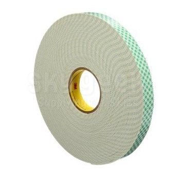"3M™ 021200-17057 Natural 4026 Double 62.5 Mil Coated Urethane Foam Tape - 1"" x 36 Yard Roll"