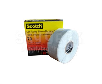 """3M™ 051128-57261 Scotch® 70 Sky Blue/Gray 12 Mil Self-Fusing Silicone Rubber Electrical Tape - 1"""" x 30 ft Roll"""