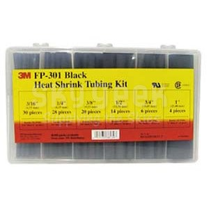 "3M 051135-38139 Black FP-301-Black  6"" Heat Shrink Tubing Assortment - 102-Piece Kit"