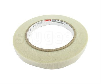 "3M™ 054007-27548 Scotch® 69 White 7 Mil Glass Cloth Electrical Tape - 1/2"" x 36 Yard Roll"
