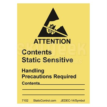 "Static Control Components 7102 Yellow 1.8"" x 2.5"" RS-471 Destructible Caution Label - 500 Label/Roll"