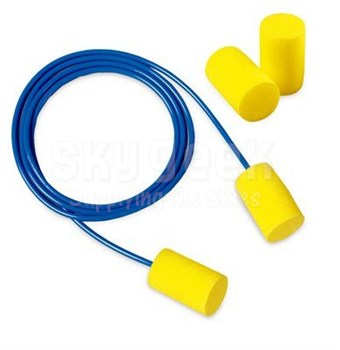 3M™ 080529-11068 E-A-R™ Classic Soft™ 311-6001 Yellow/Blue Corded Earplugs - 200 Pair/Box