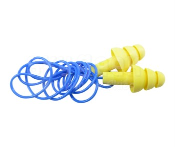 3M™ 080529-40003 E-A-R™ UltraFit™ 340-4004 Yellow/Blue Corded Poly Bag Earplugs - 100 Pair/Box
