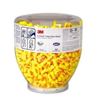 3M™ 080529-91012 E-A-Rsoft™ Yellow Neons Blasts™ One Touch™ 391-1010 Regular Size Earplug Refill - 500 Pair/Bottle