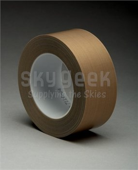 "3M™ 021200-16162 Brown 5453 PTFE 8.3 Mil Glass Cloth Tape - 2"" x 36 Yard Roll"