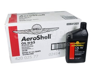AeroShell™ Oil 550022438 W65 SAE Grade 30 Ashless Dispersant Aircraft Oil  - 12 Quart/Case