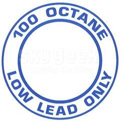 """AeroGraphics AG-FUEL-002 White/Blue """"100LL OCTANE LOW LEAD ONLY"""" Round 3"""" Placard"""