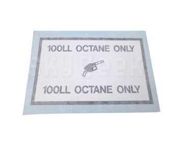 "AeroGraphics AG-FUEL-005 White/Blue ""100LL OCTANE ONLY"" Rectangle 2-7/8"" x 4-5/8"" Placard"