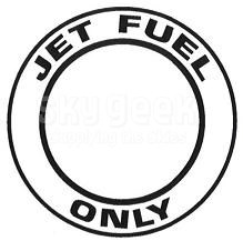"""AeroGraphics AG-FUEL-007 White/Black """"JET FUEL ONLY"""" Round 3"""" Placard"""