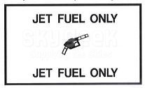 """AeroGraphics AG-FUEL-009 White/Black """"JET FUEL ONLY"""" Rectangle 2-1/2"""" x 4-1/4"""" Placard"""