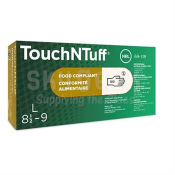 Ansell 69-318-L TouchNTuff® Large Ambidextrous Powder-Free Textured Grip Natural Rubber Latex Glove - 100 Glove/Box