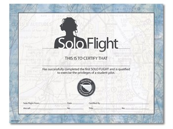 Aviation Supplies & Academics ASA-CT-SOLO-3 1st Solo Certificates - 10 Pack