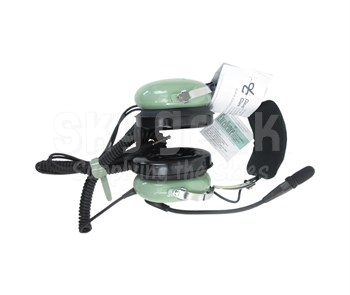 David Clark 40074G-03 Model H10-21 Green Over-The-Head 5-Foot Coil Cord Dual Plug General-Aviation Headset
