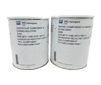 PPG Aerospace® Deft® 03-GY-401/FS#16251 Gray Rolls-Royce EMS 26721 Spec Self Priming Low VOC Polyurethane Topcoat - 1:1 Gallon Kit