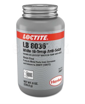 Henkel 34517 LOCTITE® LB 8036™ White Hi-Temp Anti-Seize - 226.8 Gram (8 oz) Brush-Top Jar