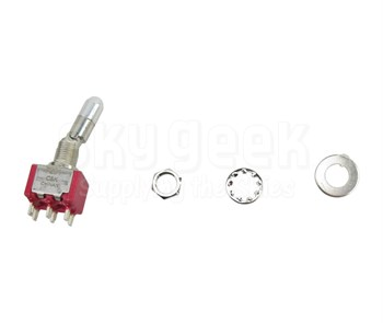 C & K Switches 7201K2ZQE Red ON-ON DPDT Solder Switch, Toggle