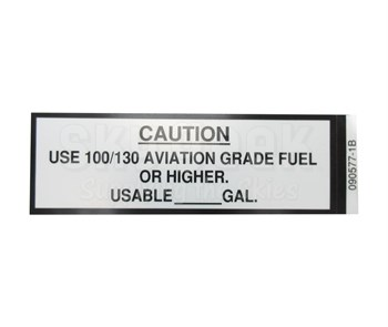 "J & M Aircraft JM013 ""USE 100/130 AVIATION GRADE FUEL OR HIGHER"" Placard"