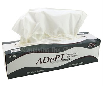 "Cascades Adept® 152017 White 14"" x 15.8"" 1-Ply Tissue Wipes - 140 Wipe/Box"