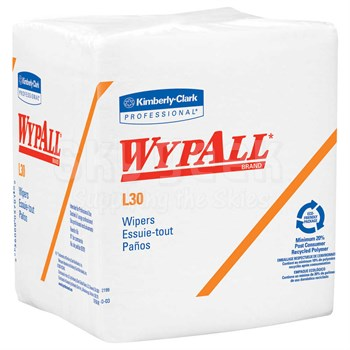 """WypAll® 05812 L30 White DRC Bonded Cellulose 12.5"""" x 12"""" Wiper Towels - 90 Wipe/Pack"""