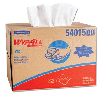 "WypAll® 54015 X60 White 12-1/2"" x 16-4/5"" Cloth Wipers - 252 Sheet/Brag-Box"