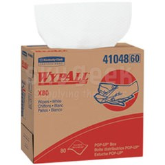 "WypAll® 41048 X80 White 9.1"" x 16.8"" Extended Use Wiper - 80 Wipe/Pop-Up Box"