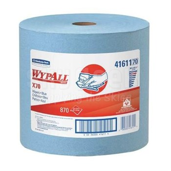 "WypAll® 41611 X70 Blue 12.5"" x 13.4"" Reusable Paper Towels - 475 Sheet/Jumbo Roll"