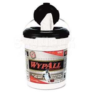 "WypAll® 83561 X70 White 9.75"" x 13"" Wiper in a Bucket - 220 Wipes/Bucket"