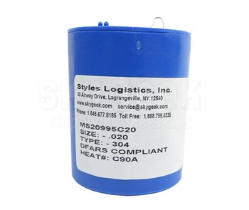 """Military Standard MS20995C20 Stainless Steel 0.020"""" Diameter DFAS Compliant Safety Wire - 1 lb Roll"""