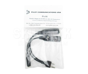 Pilot USA PA-81 Headset Adapter for ICOM A2, A3, A20, A21 Air Band Radios