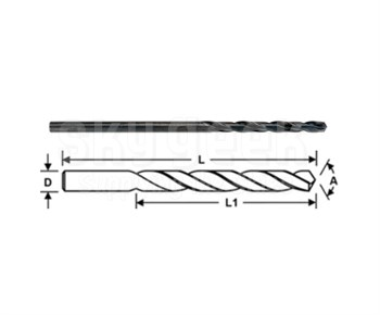 "Pan American Tool 05-209 Cobalt HSS #10 NAS907 Type J 135° Split Point 6"" Long Aircraft Extension Drill Bit"
