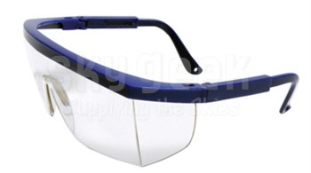 Radnor® 64051201 Retro Series Blue Frame with Clear Anti-Scratch Lens & Integrated Sideshields Safety Glasses