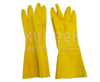 Radnor 64057821 Flock Lined Textured Palm Natural Latex Glove - Yellow - Size Medium - 1 Pair