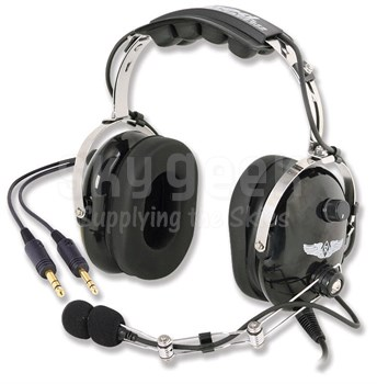Rugged Air RA454 Stereo 5-Foot Straight Cord Aircraft Headset with Wire Boom and Push-to-Talk Button
