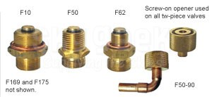 "Saf-Air F10 Brass/Stainless 1""-18 Low Profile Two-Piece Oil Drain Valve"