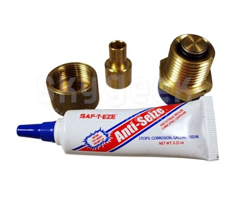 "Saf-Air F50 Brass/Stainless 1/2"" NPT Low Profile Two-Piece Oil Drain Valve"