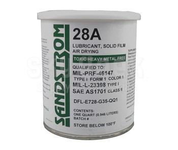 Sandstrom 28A Gray MIL-PRF-46147 Type I, Form 1, Color 1 / MIL-L-23398 Type I Spec Solid Film Lubricant - Quart Can
