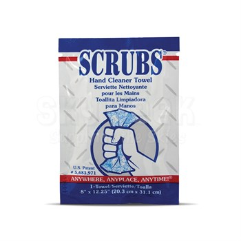 "SCRUBS® 42201 Citrus Fragrance 8"" x 12"" Hand Cleaning Towel - 1 Towel/Packet"