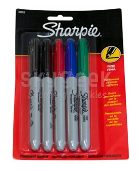 Sharpie 30653PP Fine Point Permanent Markers - Assorted 5 Pack