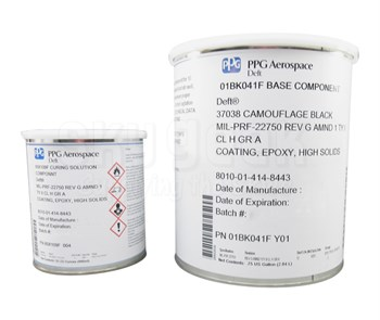PPG Aerospace® Deft® 01-BK-041/FS#37038 Black MIL-PRF-22750G Ty I, Cl H, Gr A Spec HS Epoxy Topcoat Paint - 3:1 Gallon Kit