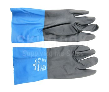 SHOWA® CHMXL-10 Black/Blue X-Large Neoprene on Latex Straight Cuff Chemical Resistant Glove - Pair