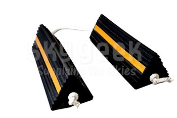 "SkyGeek SG0895 Black/Yellow Reflective Stripe 18"" Rubber Aircraft Wheel Chocks"